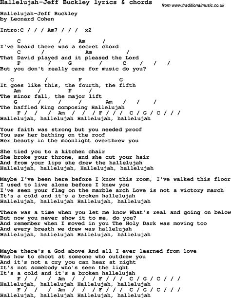 song with lyrics song lyrics for hallelujah jeff buckley with chords