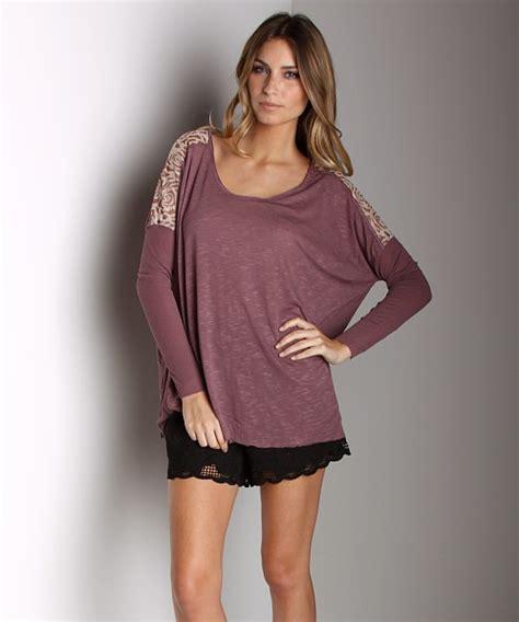 Boxi Sweater Dusty free boxy t shirt with lace dusty plum f262u240 free shipping at largo drive