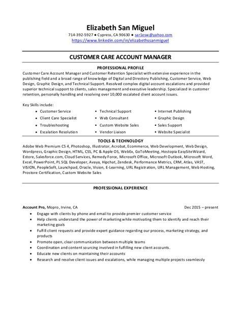 resume elizabeth san miguel customer care