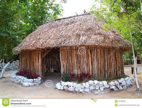 mayan mexico wood house cabin hut palapa stock image