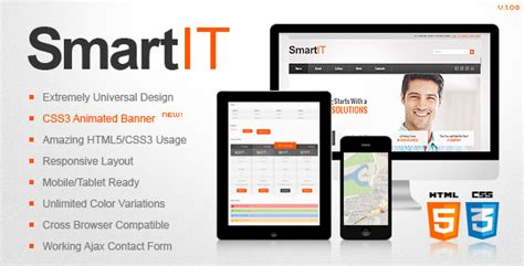 Smartit Responsive Html5 Css3 Template By Thememakers Themeforest Themeforest Html5 Templates