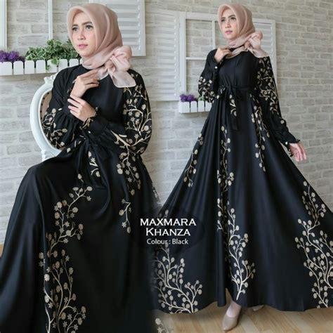 Baju Busana Muslim Gamis Alina Abu Navy Maxi Bergo Diskon gamis terbaru khanza maxi maxmara baju muslim modern