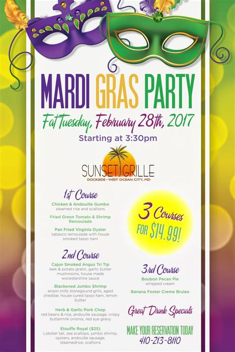 mardi gras dinner menu mardi gras menu dockside bar and grille west
