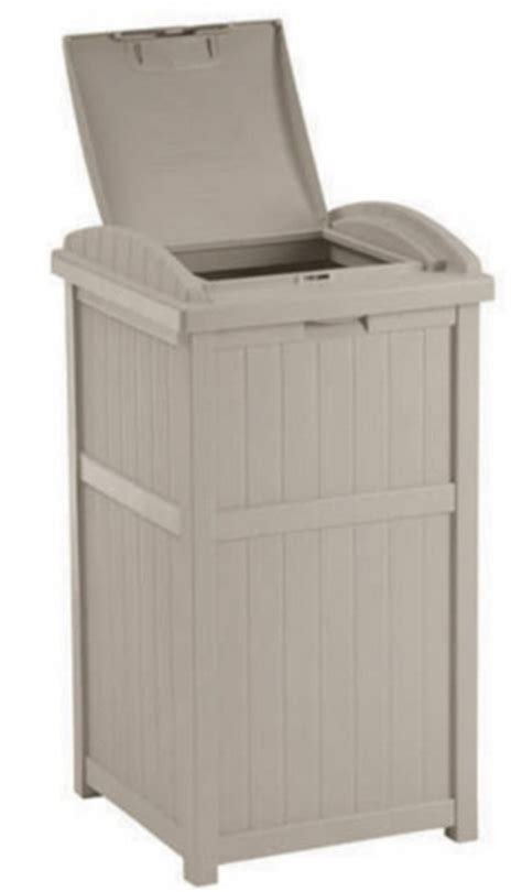Patio Garbage Can by New Suncast 30 33 Gallon Outdoor Trash Can Hideaway
