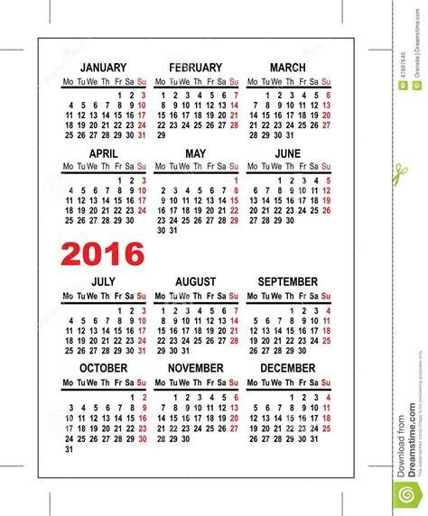 Calendario Cartera 2015 Molde 2016 Do Calend 225 Do Bolso Ilustra 231 227 O Do Vetor