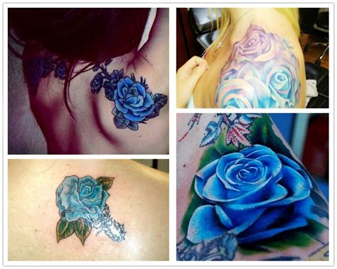 green rose tattoo 2014 fashion blue watercolor ideas on shoulder