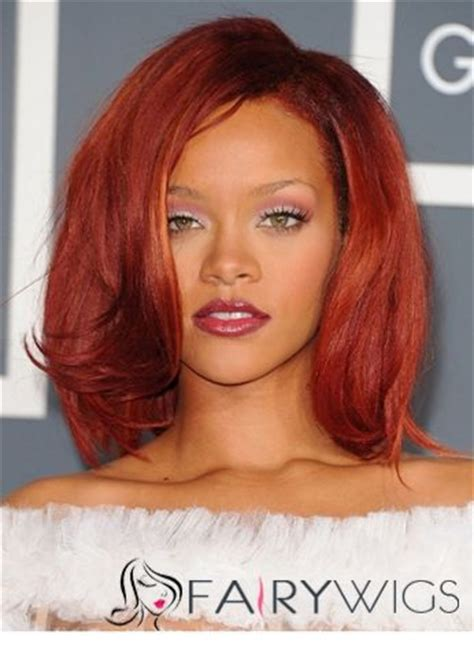 hairstyle 14 inches chic medium red female rihanna wavy celebrity hairstyle 14