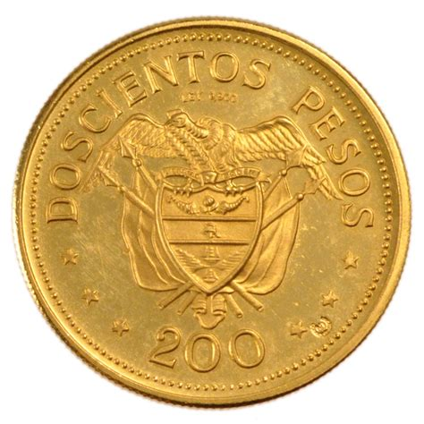 monnaies colombie coins colombia colombie 200 pesos or