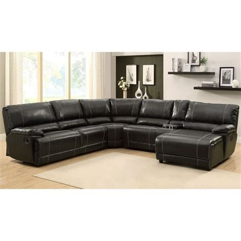 6 piece leather sectional sofa trent home cale 6 piece sectional in black leather 9608