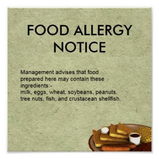 printable allergy poster food allergy notice print