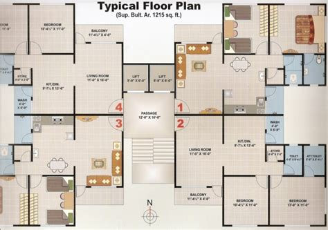 Typical Floor Plans Of Apartments 2 Bhk 1215 Sq Ft Flat For Sale At Althan Surat Sdrpost982