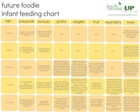 Infant Feeding Chart When To Introduce Which Foods To Baby Creating Future Foodies One Bite Plant Feeding Schedule Template