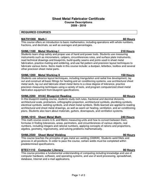 sheet metal resume exles 6 best images of developing a resume worksheet