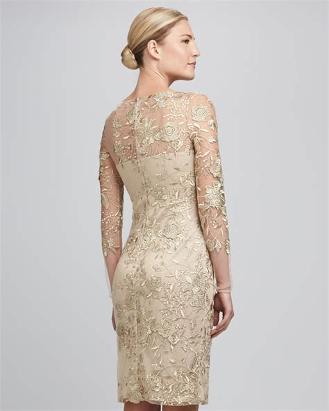 Id 396 Flower Lace Dress beige lace cocktail dress cocktail dresses dressesss
