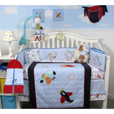 Airplane Crib Bedding Sets Airplane Bedding Airplane Bedding Set Microplush Boysu0027 Printed Vintage Airplane Polyester
