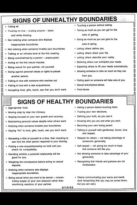 Healthy and unhealthy boudaries.   Therapy worksheets