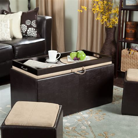 storage ottoman coffee table with trays coffee tables shop at hayneedle com