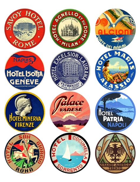 printable travel stickers 12x vintage travel stickers italy mix vintralab