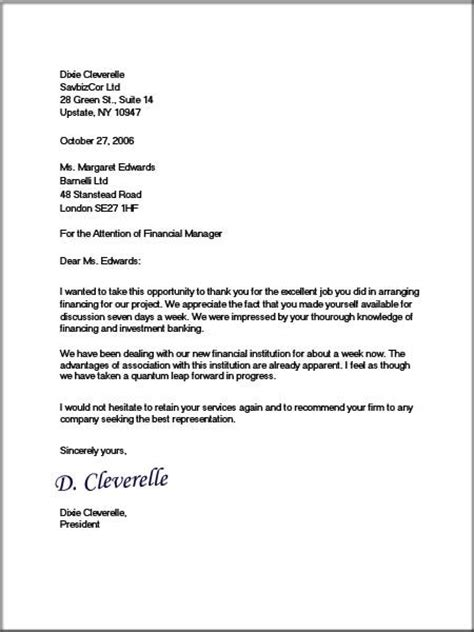 Official Letter In Model Business Letter Model