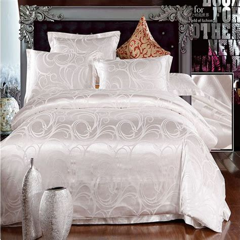 luxury white bedding white jacquard home textile bedding set luxury 4pcs tribute silk bed set duvet