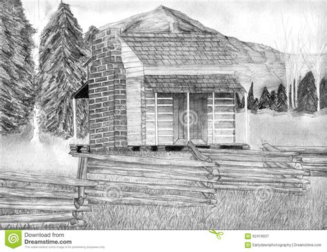 cabin drawings log cabin pencil drawing stock illustration image 62419037