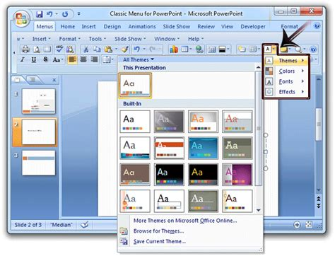 applying themes in powerpoint 2010 microsoft powerpoint 2007 gallery