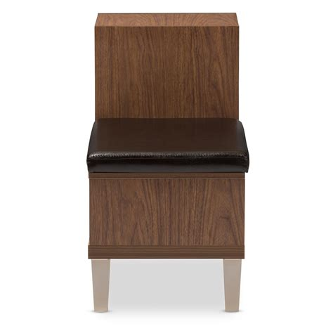 padded bench seating baxton studio arielle modern and contemporary walnut brown wood 3 drawer shoe storage