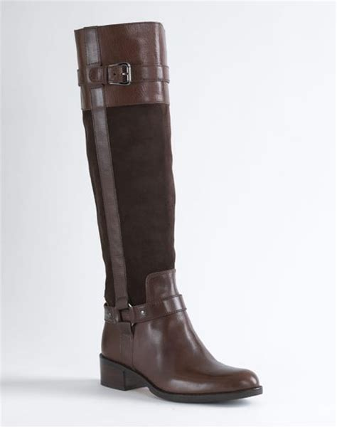 joan and david boots joan david ramsis leather and suede boots in brown