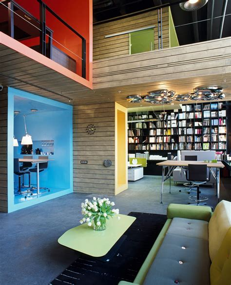 modern home design showroom formal factory turned into a colorful office and showroom