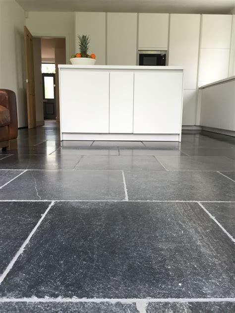 blue stone floor tiles aged  tumbled finish