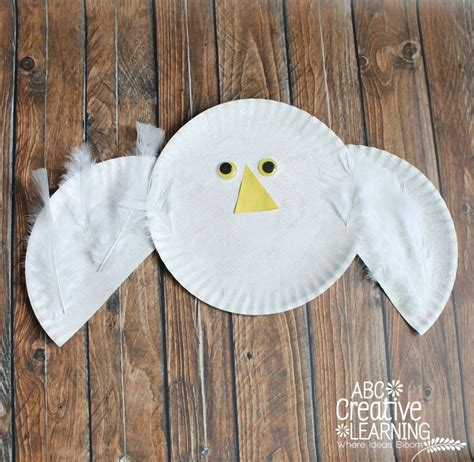 paper plate snowy owl craft