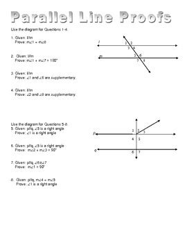 Parallel Line Proofs Worksheet by Parallel Line Proofs By Tallud Teachers Pay Teachers