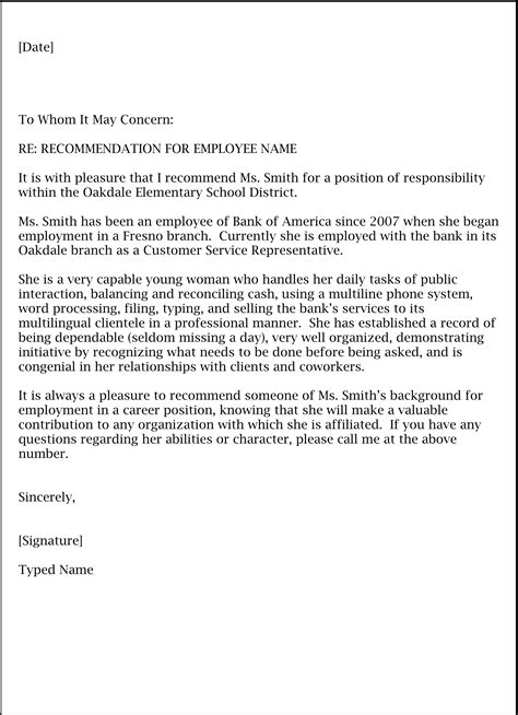 formal letter of recommendation template application letter format in doc application