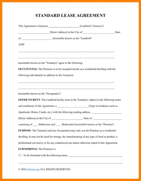 basic agreement template 10 basic rental agreement fillable homed