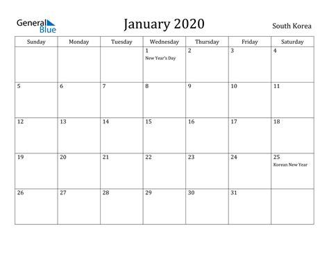 january  calendar south korea