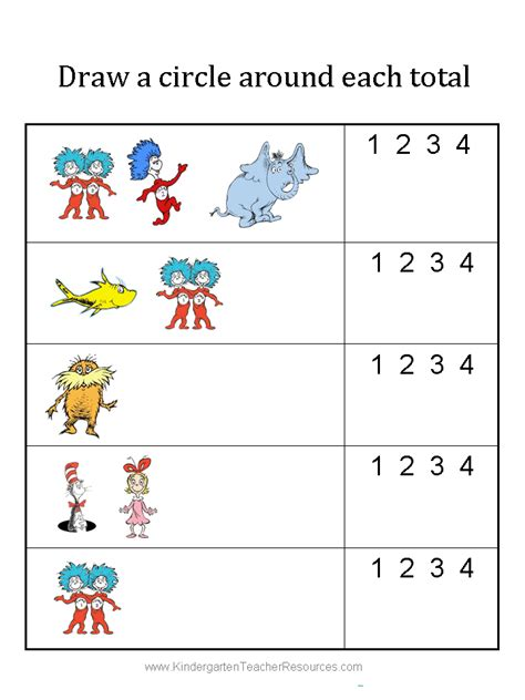 Free Printable Worksheets Dr Seuss | free dr seuss math activities