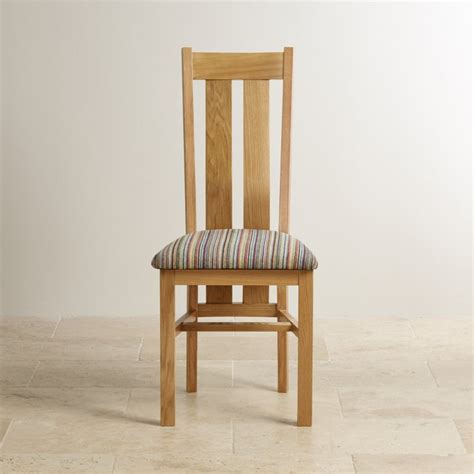 multi coloured chairs arched back chair in solid oak striped multi coloured fabric