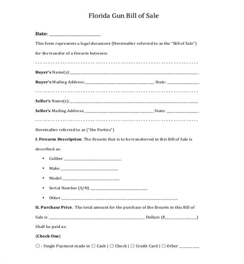 10 Sle Bill Of Sale For Firearms Sle Forms Bill Of Sale Template Florida