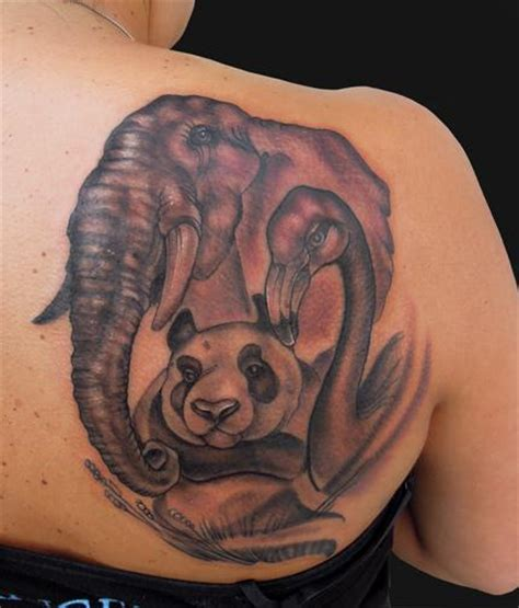 panda elephant tattoo the elephant panda and flamingo tattoo by katelyn crane