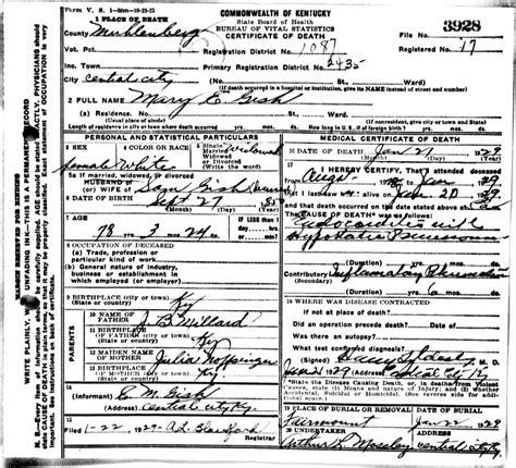 Louisville Kentucky Death Records - Death Certificates G