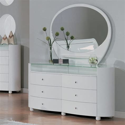modern white dresser with mirror featuring white wooden