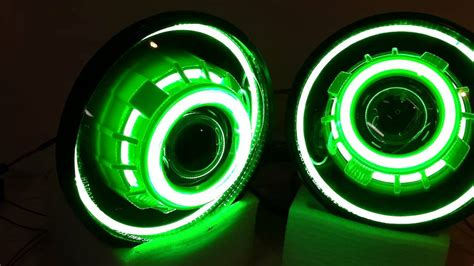 jeep wrangler projector headlights gecko green led angel