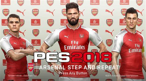 arsenal pes 2018 pes 2018 step repeat arsenal startscreen by abw