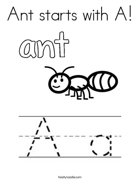 what color starts with a ant starts with a coloring page twisty noodle