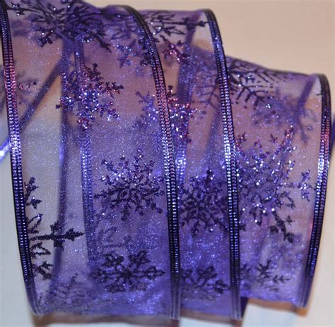 purple christmas ribbon wired ribbon sheer purple sparkle snowflake wreath gift bow ebay