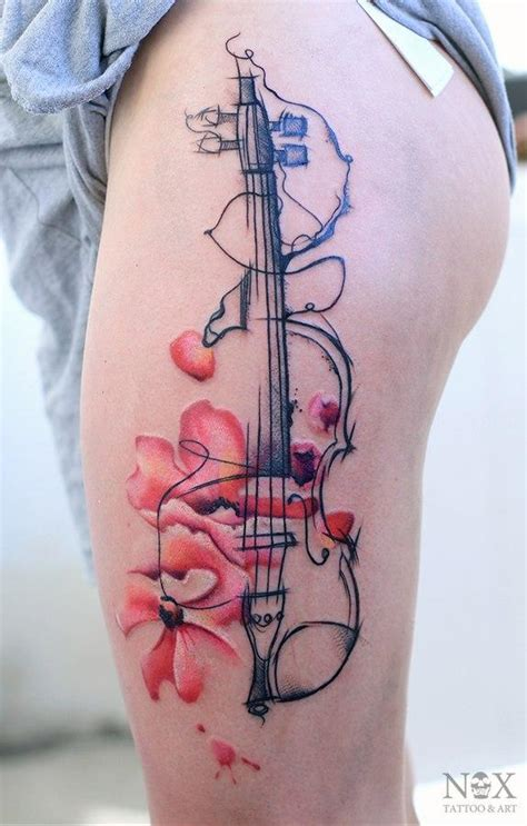 pinterest violin tattoo surreal violin watercolor thigh tattoo by russian tattoo