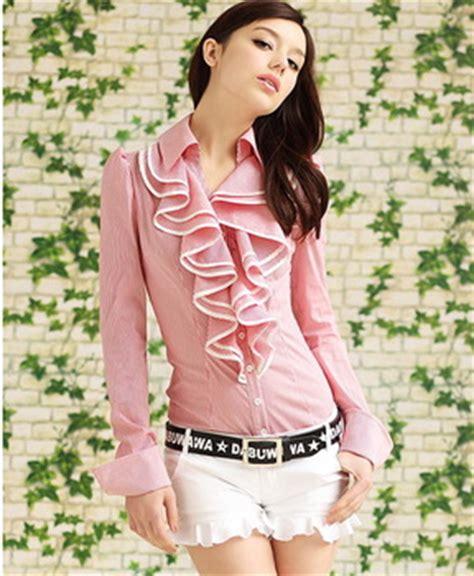 Blouse Wanita Stripe 2014 mode baru ol stripe wanita kemeja wanita kantor bisnis karir blus untuk wanita memakai