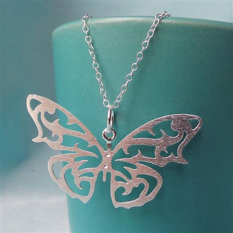 silver butterfly pendant necklace by martha jackson