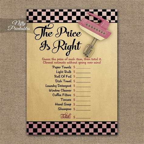 price is right bridal shower template printable price is right bridal shower kitchen shower