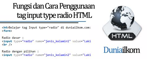 html tutorial a tag fungsi dan cara penggunaan tag input type radio form html